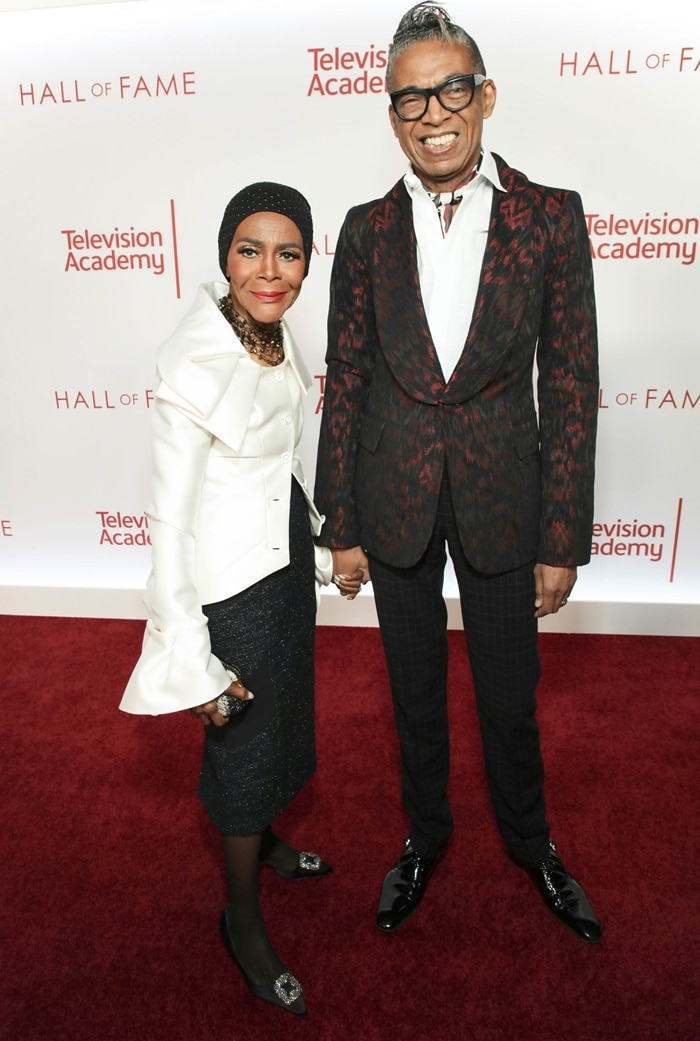 Cicely Tyson (L) and fashion designer B. Michael attend the Television Academy's 25th Hall Of Fame Induction Ceremony