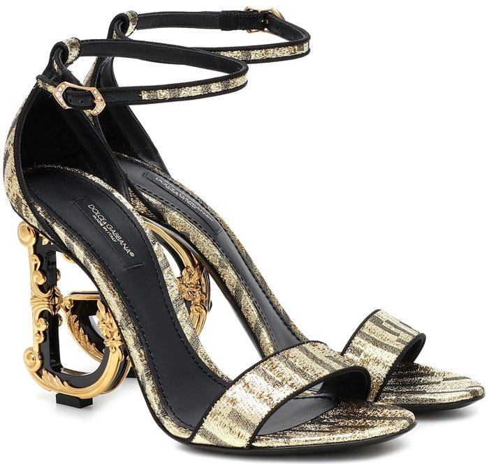 These metallic Keira sandals are made in Italy and set atop the house's iconic D&G baroque heels
