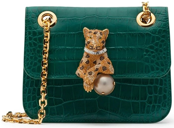 Dolce & Gabbana's dark emerald green pearl tiger crossbody bag is made from alligator leather and lambskin