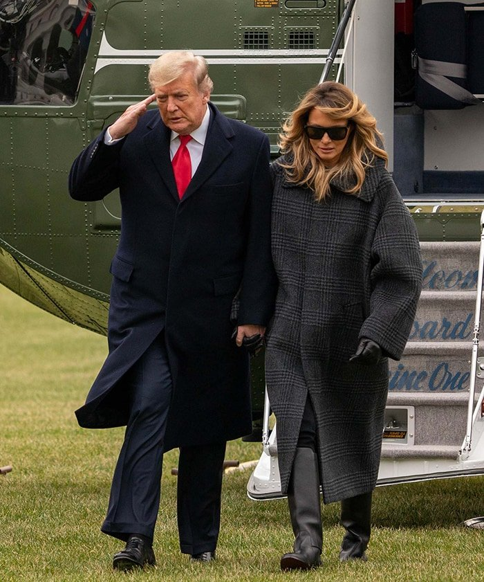 President Donald Trump and First Lady Melania Trump returns to the White House cutting short vacation at Mar-a-Lago on December 31, 2020
