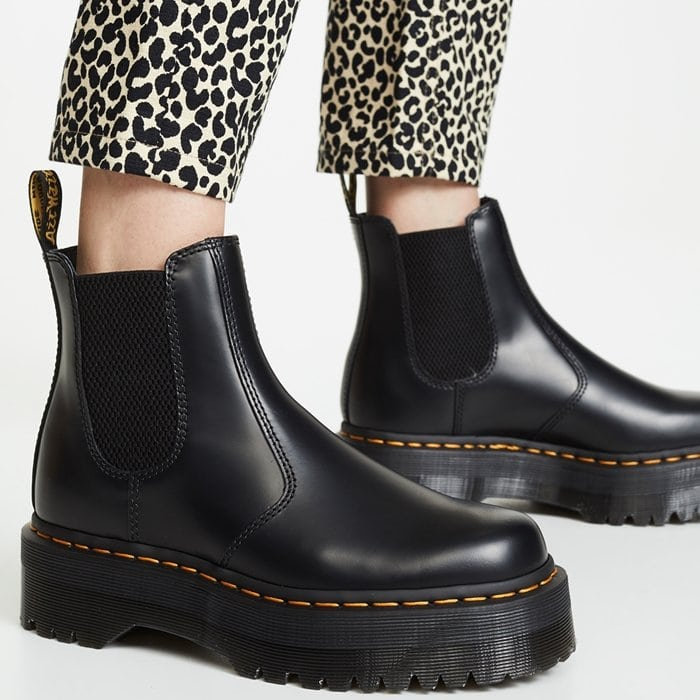 A classic Chelsea boot, done Doc Martens style with the brand's instantly recognizable contrast stitching