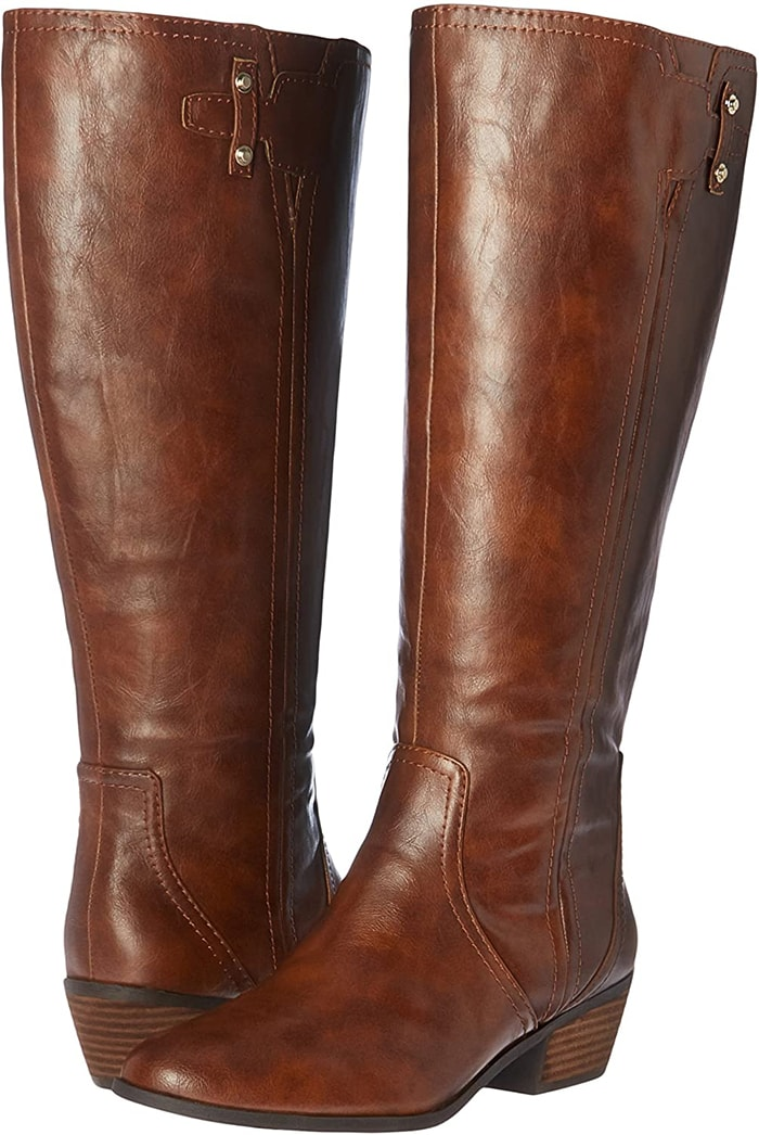 Sleek tall boot with metallic buckle detail and 1 and 1/4 inch stacked block heel