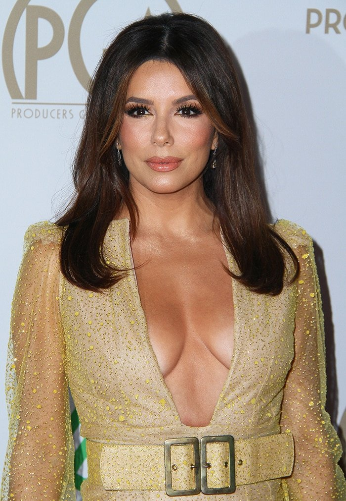 Eva Longoria displays her chest in Teresa Helbig gown at the 31st Producers Guild Awards on January 18, 2020