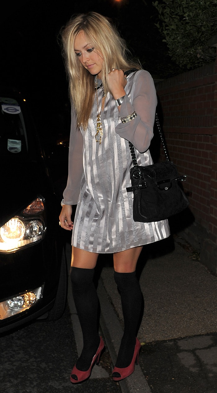 Fearne Cotton opts for red peep-toe pumps with knee-high socks on July 16, 2009
