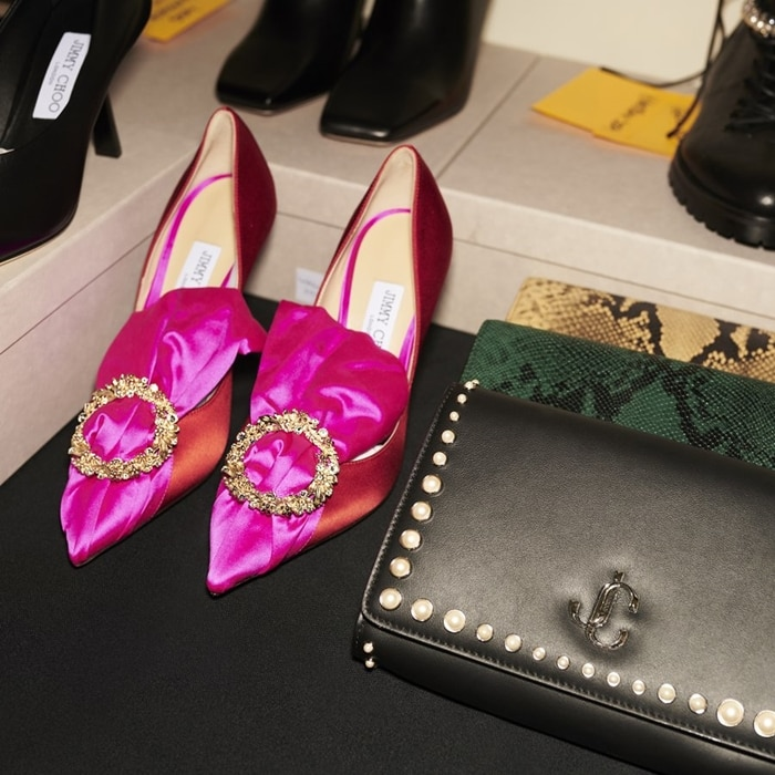 Lyz in fuchsia and chili perfectly embodies Jimmy Choo's vision of preciousness, refinement, and elevation