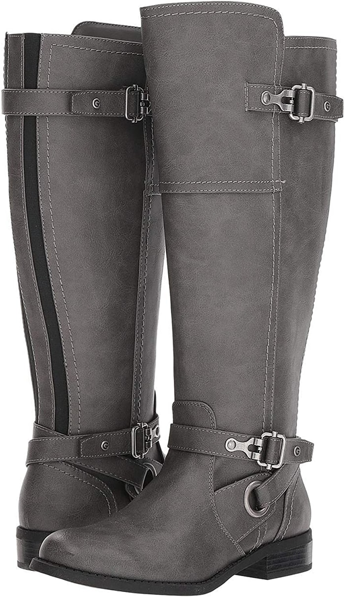 These knee-high boots are 17 inches in diameter with a comfy 1.25-inch heel