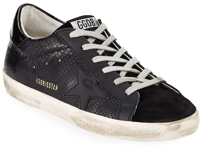 Golden Goose snake-print leather sneakers with logo at side and backstay