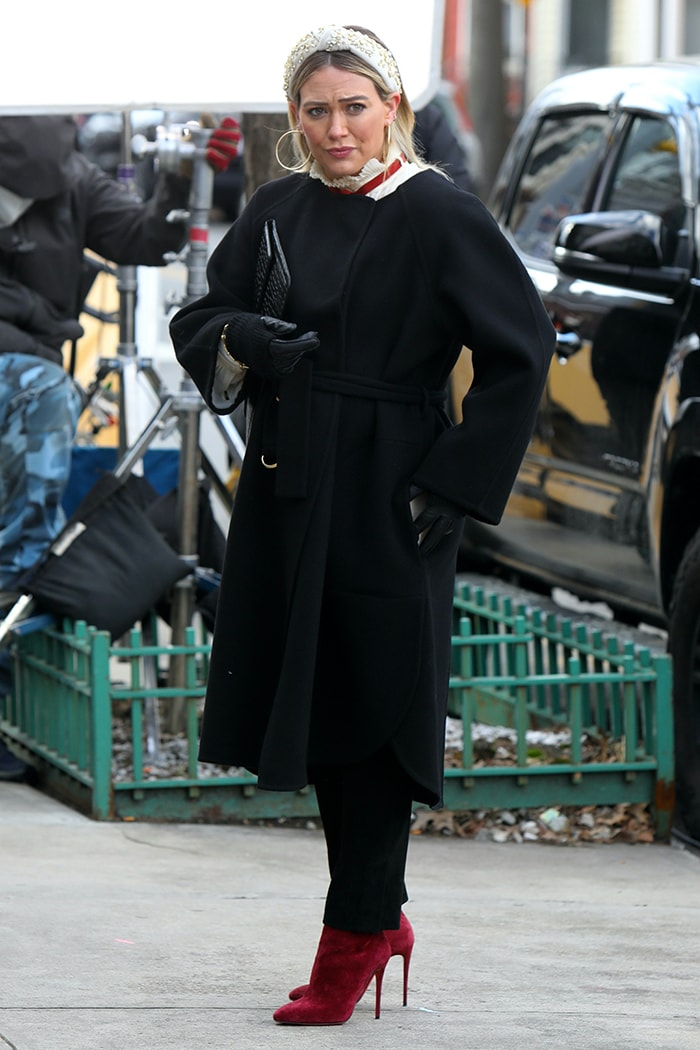 Hilary Duff films Younger in New York City on January 20, 2021, missing out on the Presidential Inauguration celebrations