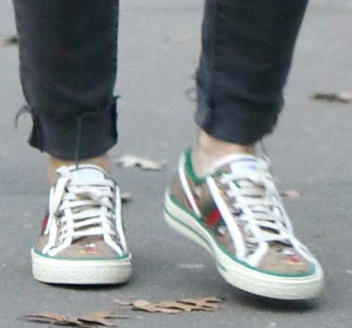 Hilary Duff wearing Gucci and Disney's 1977 GG print tennis sneakers