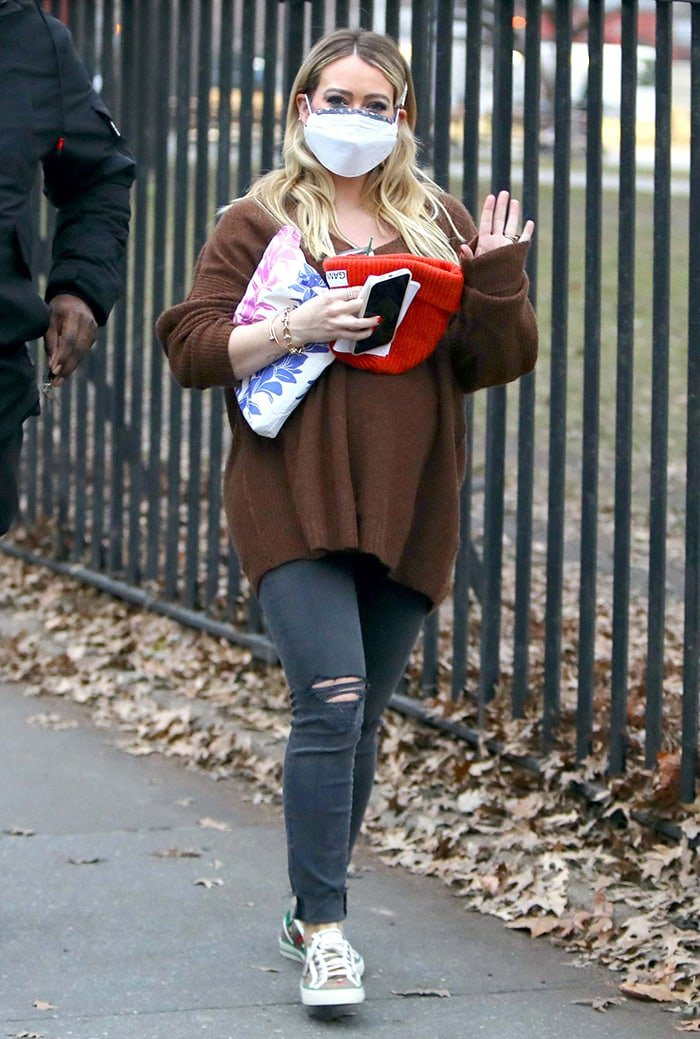 Hilary Duff arrives on the Younger set in New York City on January 16, 2021