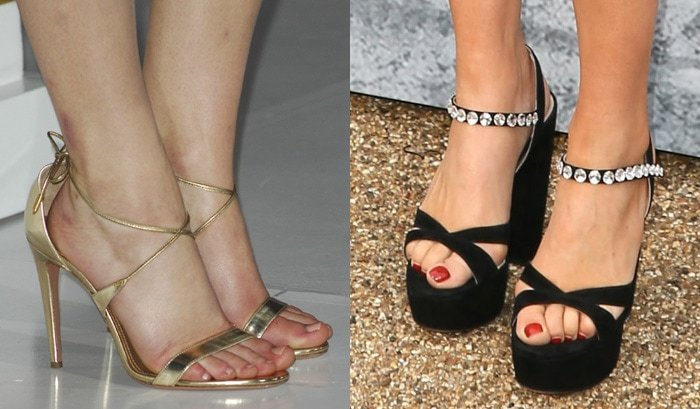 Jennifer Lawrence (left) wears too big shoes, while Suki Waterhouse (right) curls up her toes in her tiny open-toe heels