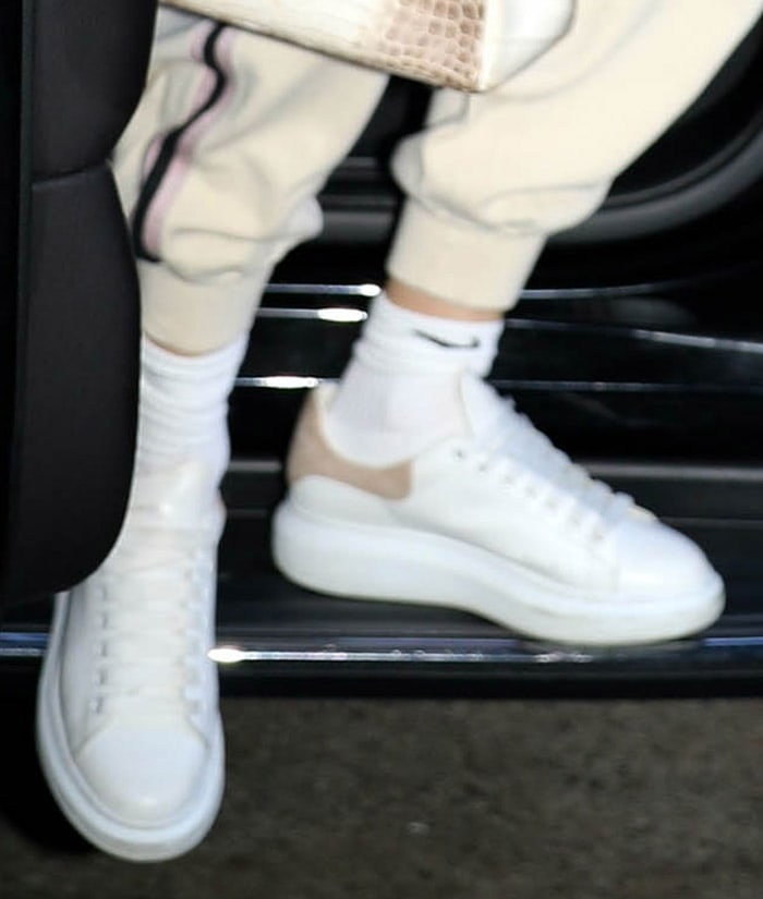 Jennifer Lopez completes her loungewear with Alexander McQueen sneakers