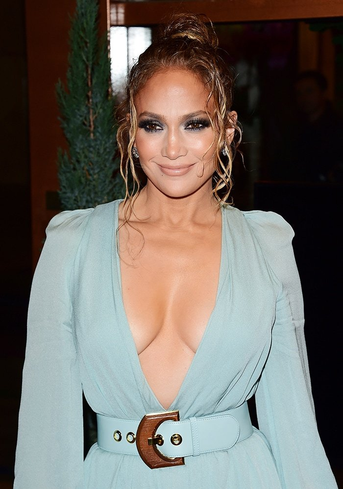 Jennifer Lopez shows off her full chest in Elie Saab plunging dress at the LAFCA 2020 on January 11, 2020
