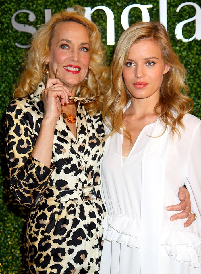 Model Jerry Hall with her younger copy Georgia May Jagger at Sunglass Hut's 2013 Mother's Day celebration