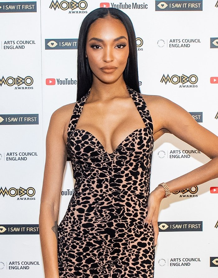 Jourdan Dunn's small but round and perky breasts in leopard Alaia dress at the MOBO Awards 2020 on December 7, 2020