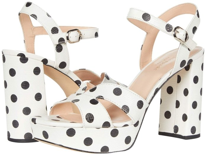 The Kate Spade New York Delight heeled sandal offers a strappy design and a leather upper