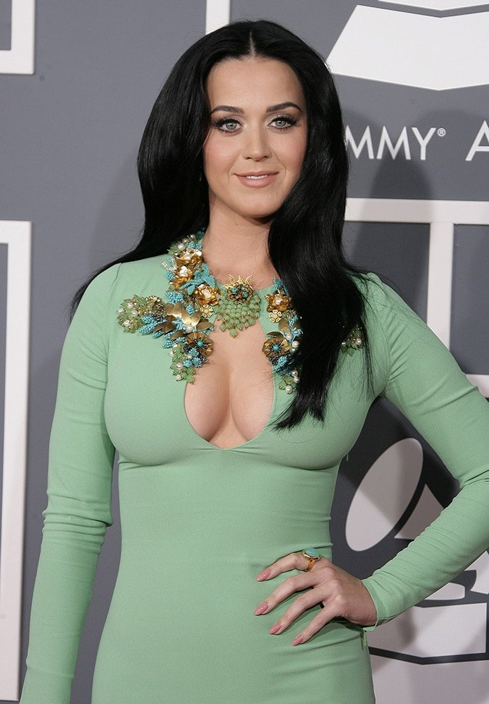 Katy Perry flashes her 32D plump boobs in Gucci dress at the 55th Annual GRAMMY Awards on February 10, 2013