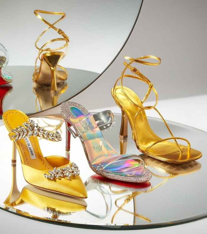 Evening high heels from Manolo Blahnik, Christian Louboutin, and Bottega Veneta