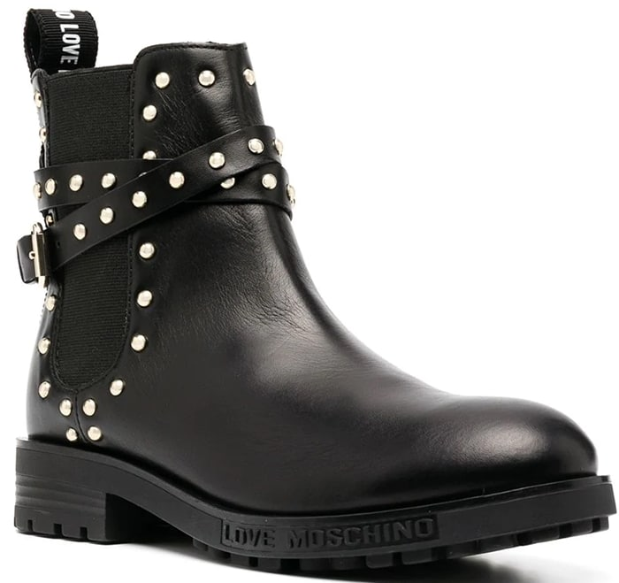 Love Moschino studded Chelsea boots with gold-tone stud detailing