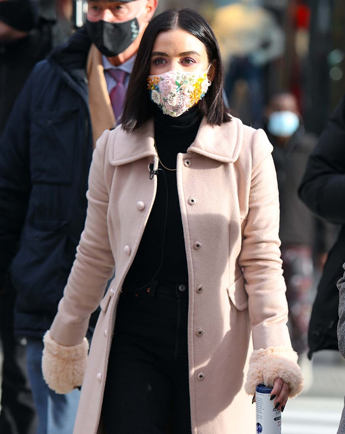Lucy Hale stays safe in style with Jennifer Behr embroidered floral face mask