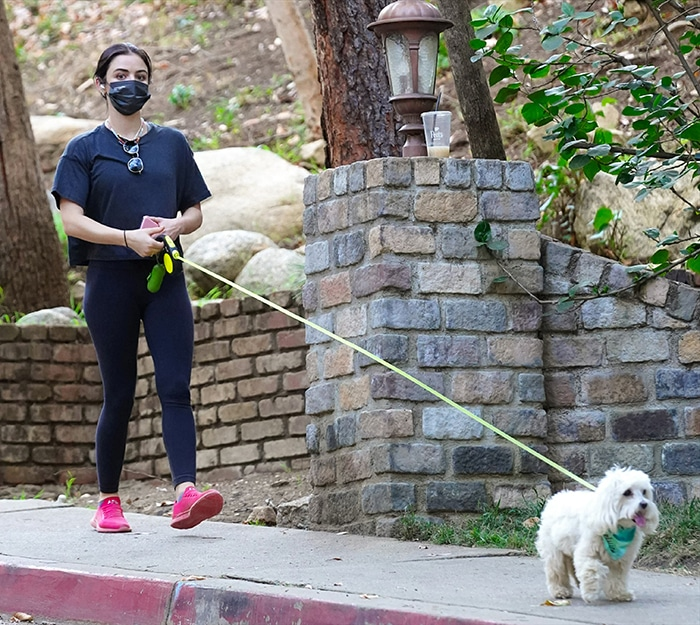 Lucy Hale goes for a hike with her dog, Elvis, in Studio City on January 18, 2021