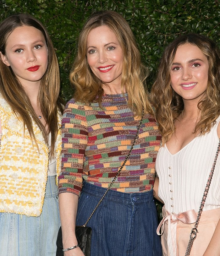 Leslie Mann attends a Chanel dinner with her look-alike daughters Iris and Maude Apatow on June 2, 2018