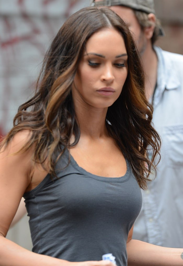 Megan Fox filming Teenage Mutant Ninja Turtles 2 in a sexy tank top on May 12, 2015