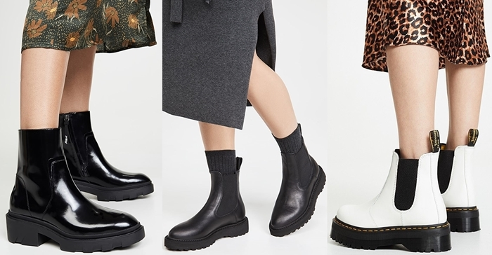 Chelsea boots can look effortlessly stylish with a midi dress