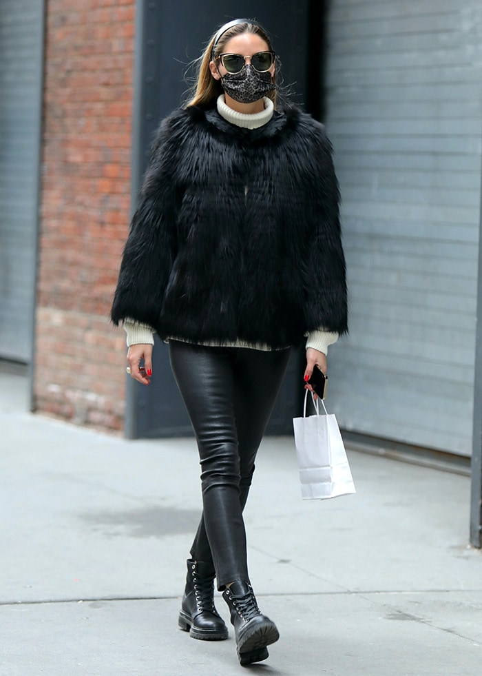 Olivia Palermo goes solo shopping in Brooklyn on January 11, 2021