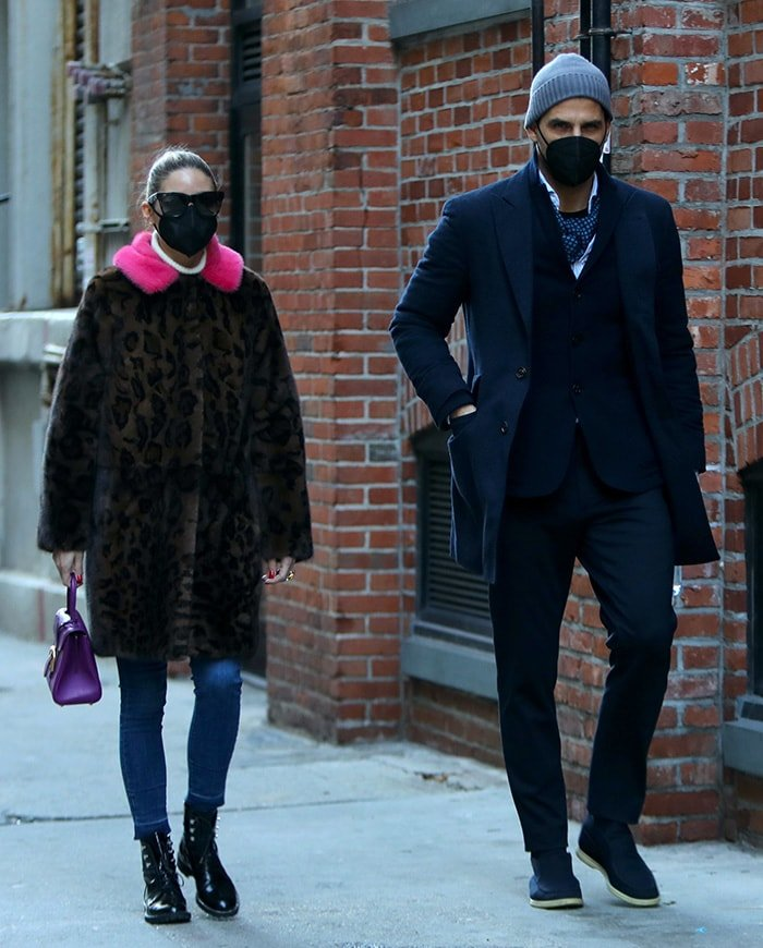 Olivia Palermo and husband Johannes Huebl go out for a stroll in Brooklyn on January 23, 2021