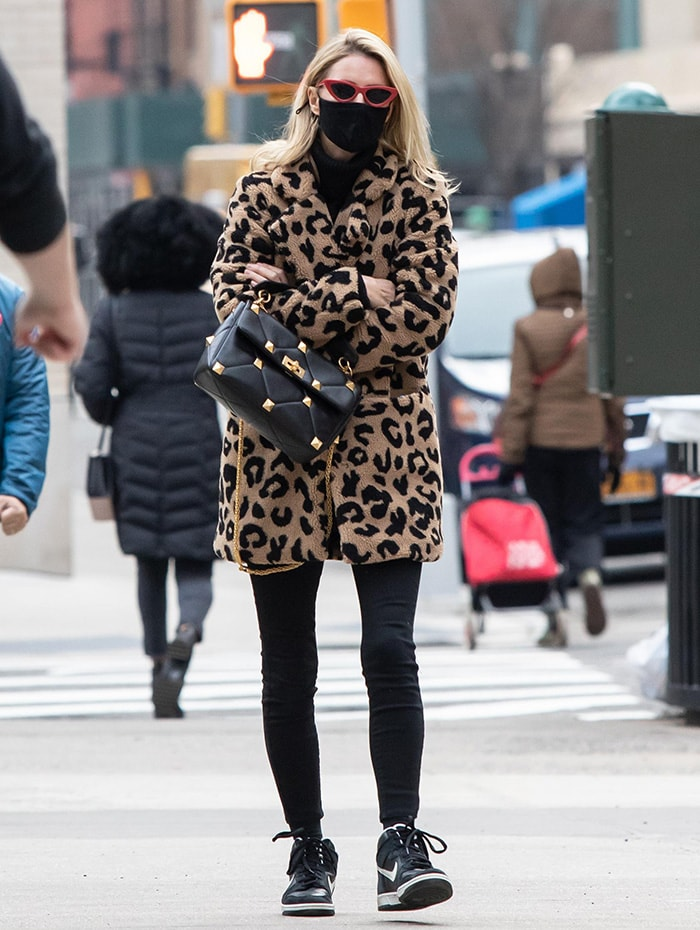 Nicky Hilton braves the New York City weather in Apparis leopard-print fur jacket