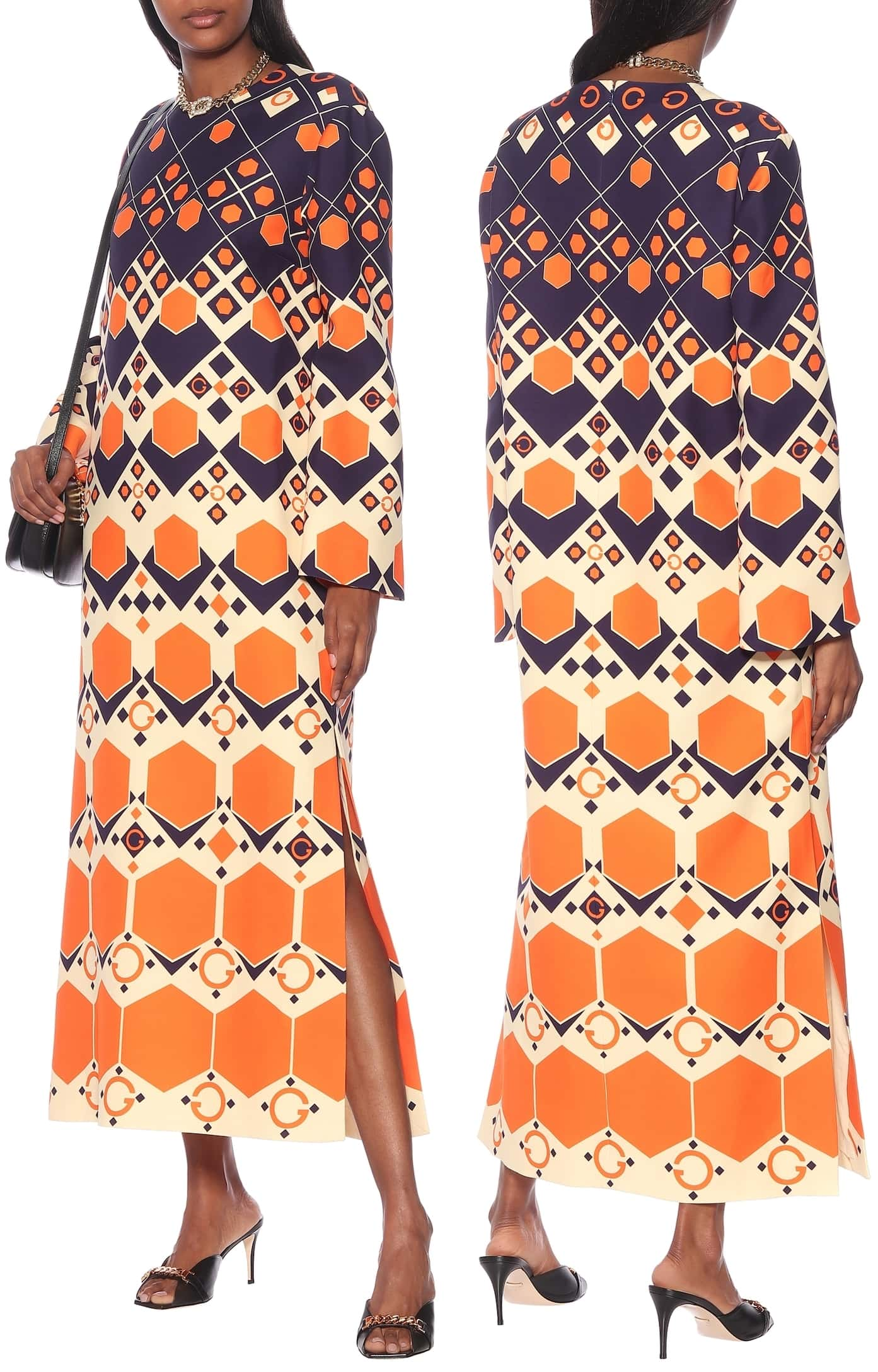 Bring the spirit of the '70s to life with this silk and wool cady maxi dress from Gucci