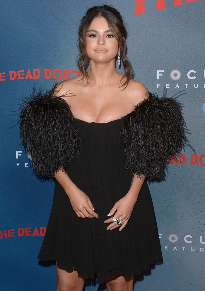Selena Gomez showcases her full cleavage in Celine Bustier dress at The Dead Don't Die New York Premiere on June 11, 2019