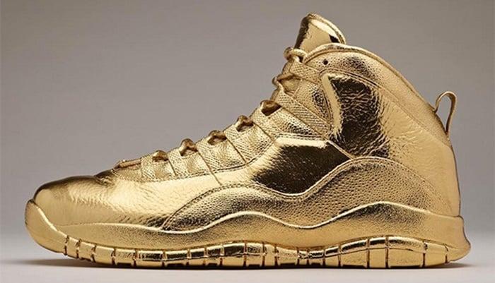 Drake's 100-pound Air Jordan 10 dipped in 24k solid gold by artist Matthew Senna