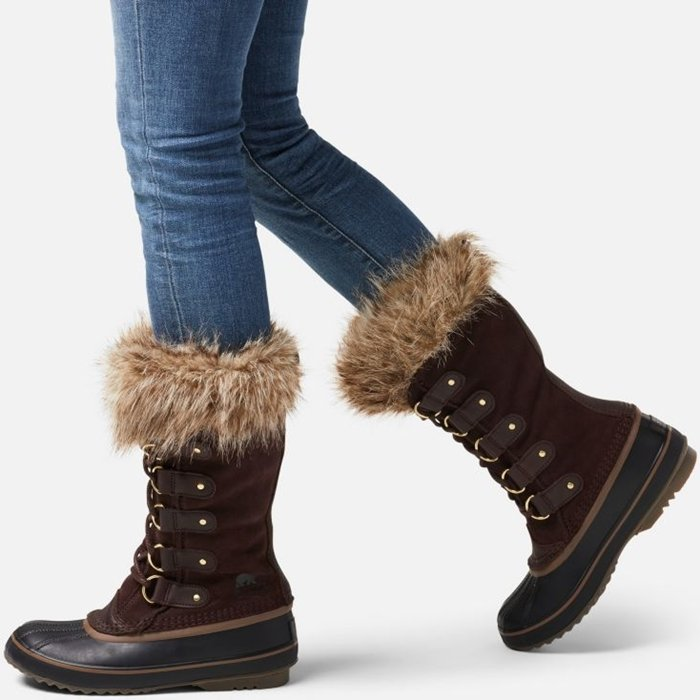 Joan features waterproof suede a fully seam-sealed waterproof design, a rubber sole for traction, and Sorel's classic silhouette