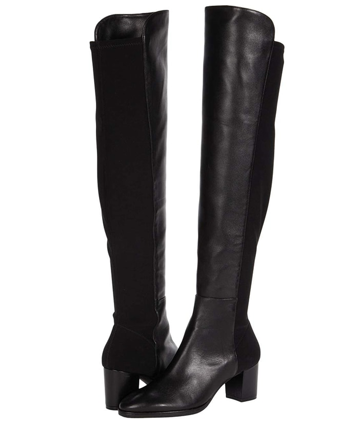 Poised suede Stuart Weitzman Harper boots featuring a man-made lining and lightly cushioned, stationed leather insole
