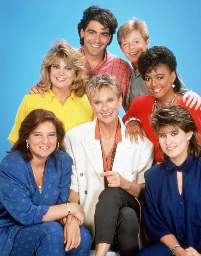"American television sitcom The Facts of Life cast members Lisa Whelchel (as Blair Warner), George Clooney (as George Burnett), MacKenzie Astin (as Andy Moffet), Kim Fields (as Dorothy ""Tootie"" Ramsey), seated, Mindy Cohn (as Natalie Green), Cloris Leachman (as Beverly Ann Stickle), Nancy McKeon (as Joanne ""Jo"" Polniaczek)"
