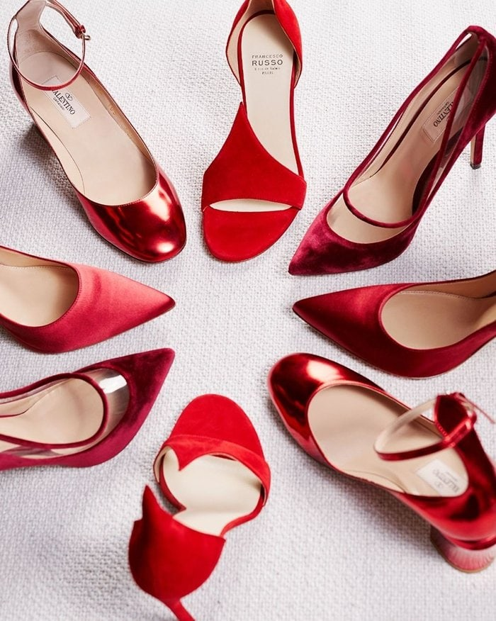 Discounted red shoes from Valentino, Ralph & Russo, and Francesco Russo at The Outnet