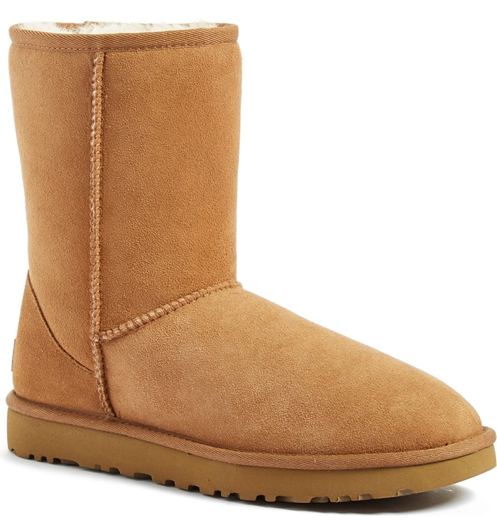 Pretreated to protect against moisture and staining, this timeless UGG boot is comfier and cozier than ever, with a soft lining crafted from genuine shearling