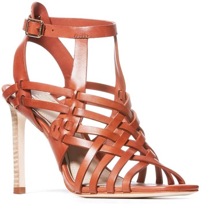 A strappy cage sandal from Paige with weaving reminiscent of classic huaraches features a breezy look with a sophisticated twist