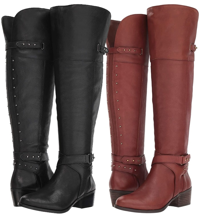 An elegant equestrian-style boot is beautifully detailed with studded straps and lifted just enough on a stacked heel