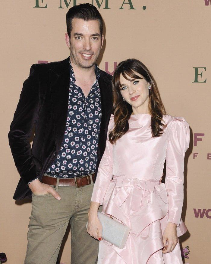 Zooey Deschanel and her boyfriend Jonathan Scott attend the premiere of Emma