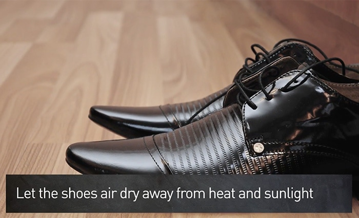 Give your leather shoes and boots plenty of time to dry in the open air