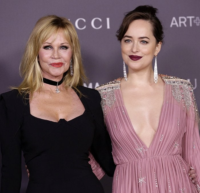 Melanie Griffith's bone structure and facial features are similar to her daughter Dakota Johnson