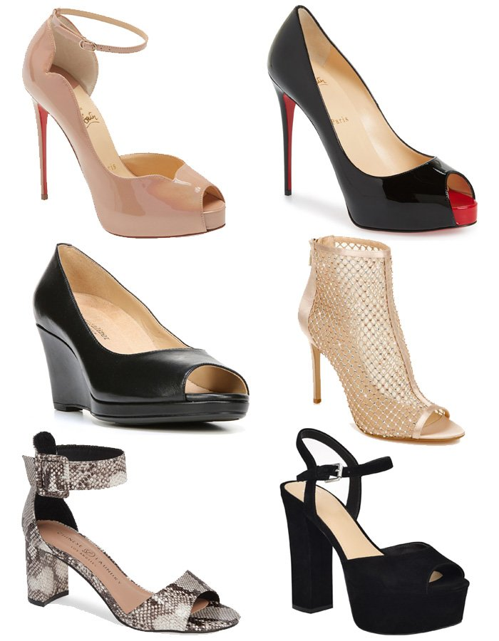 A variety of peep-toe and open-toe shoe silhouettes