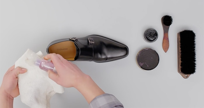 Apply saddle soap to a microfiber cloth
