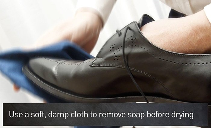 Wipe off the soap with a clean, damp cloth