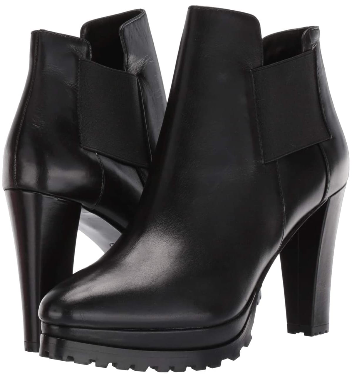 These leather boots feature a chunky high heel in a Chelsea silhouette with a pull-on design with dual goring