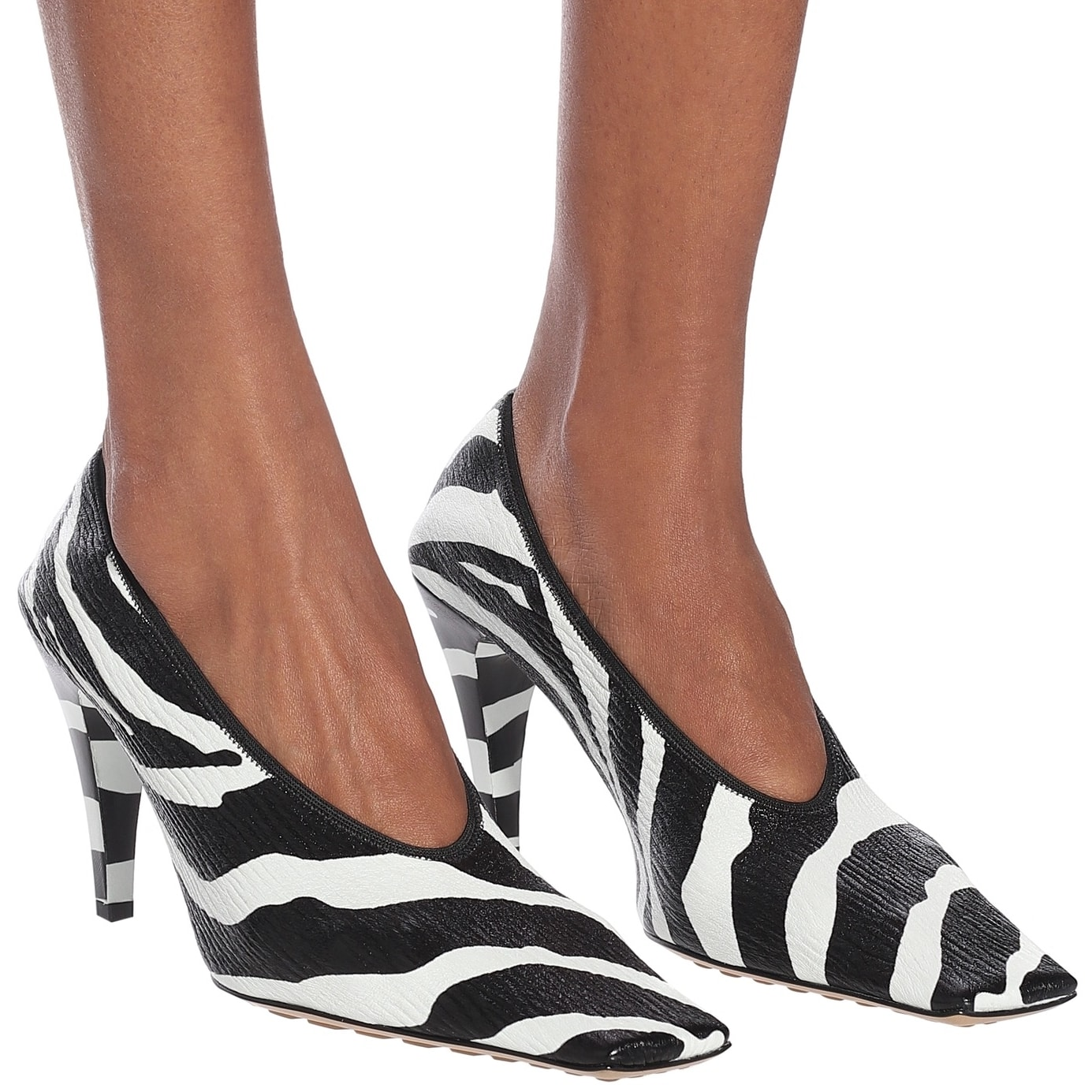 Presented in an of-the-moment zebra stripe, this pump is made in the label's native Italy from crinkled leather with a statement square toe and an elasticated topline that ensures a snug fit