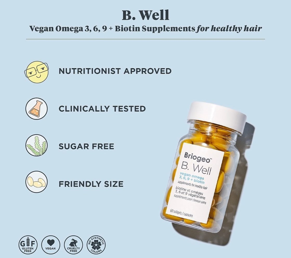 A vegan-friendly hair supplement that utilizes a unique algae-derived Omega-3 complex to support healthy, strong hair